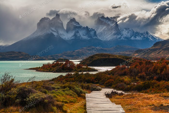 Beautiful autumn in Torres del Paine, Chile