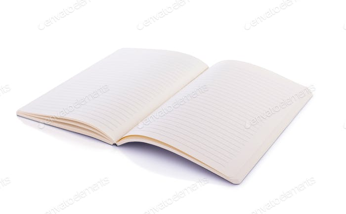 notepad or notebook paper at white