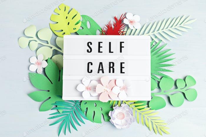 Lightbox con palabras de motivación para el cuidado de sí mismo, pensamiento positivo, salud mental, bienestar emocional