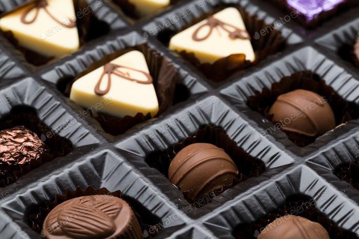 A box of various chocolate pralines