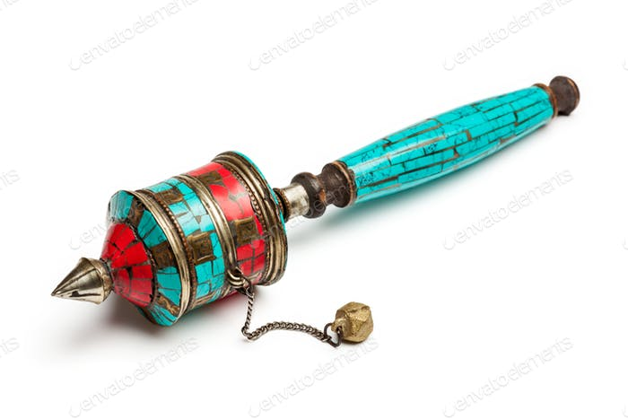 Tibetan buddhist Mani hand prayer wheel