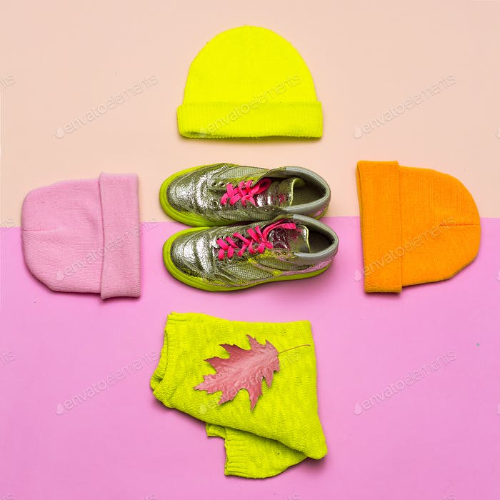Fashion blogger help. A set of caps and sneakers. Bright spring