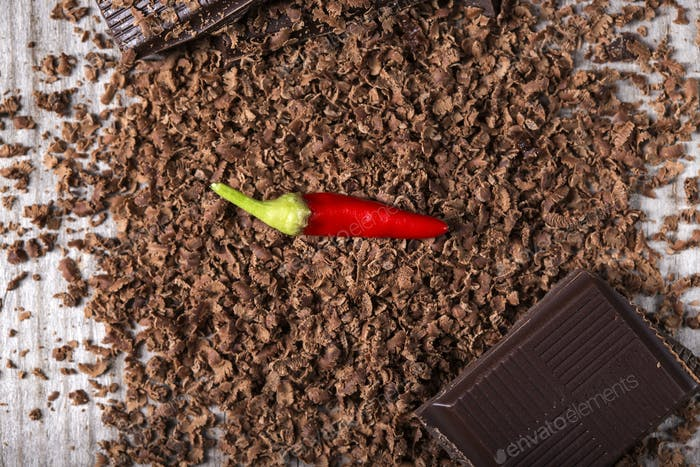 Grated Chocolate with Red Chilli Pepper