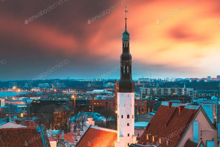 Tallinn, Estonia. Night Sunset Sky Above Traditional Old Architecture Skyline In Old Town. Church Of