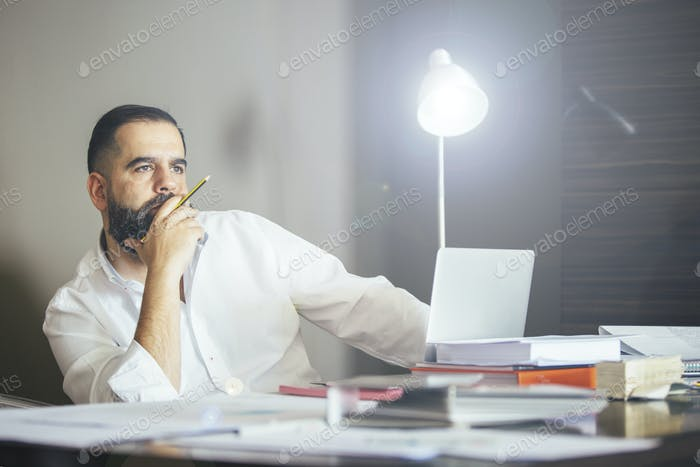 Portrait of bearded businessman at table