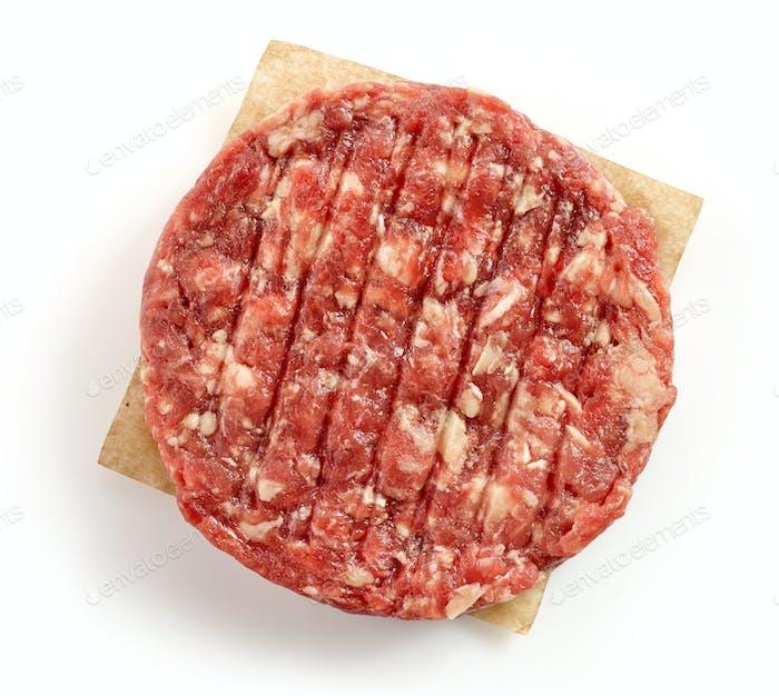 fresh raw burger meat