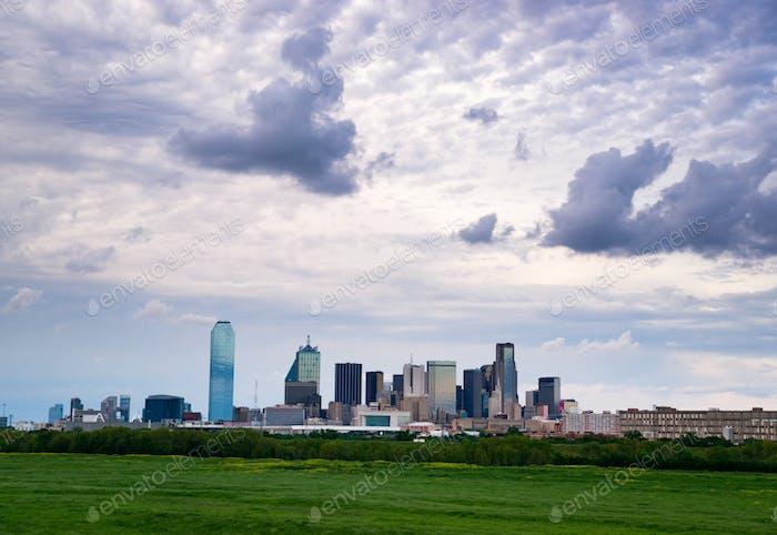Dramatic Sky Over Downtown Houston Texas City Skyline