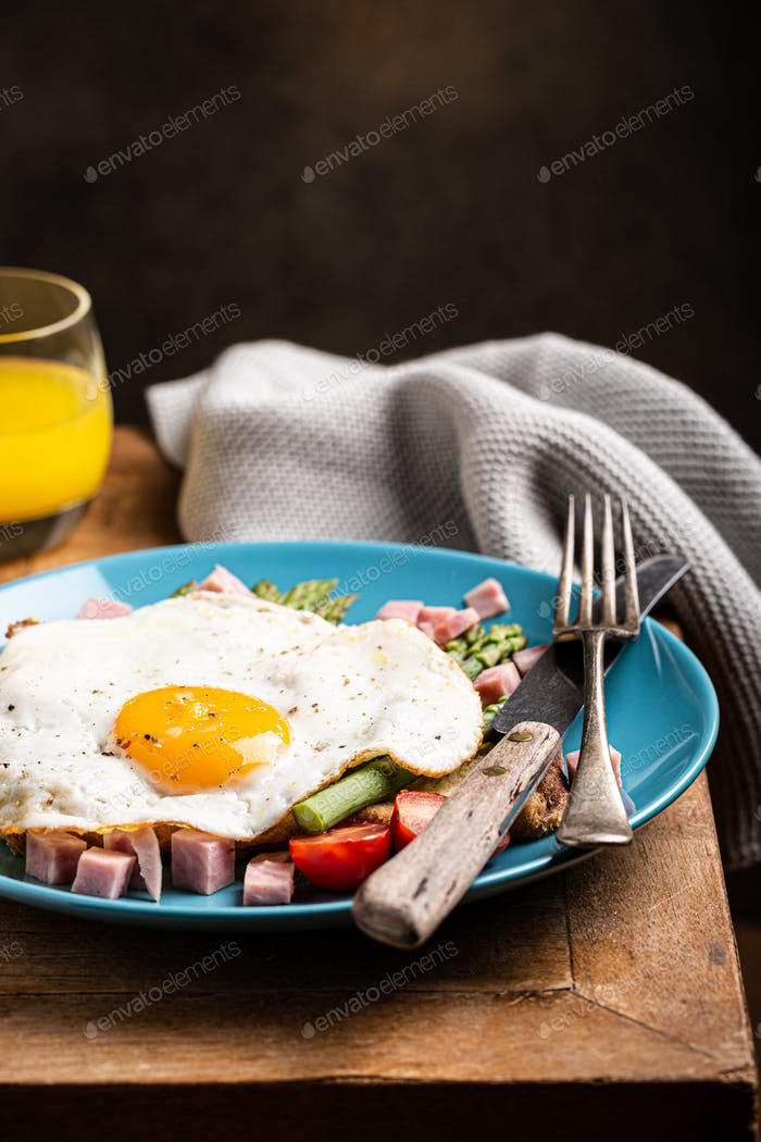 Breakfast or lunch with fried egg