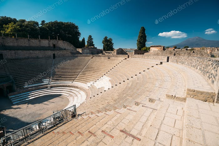 Pompeii, Italy. View Of Great Theatre Of Pompey In Sunny Day