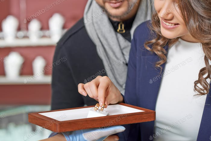 Couple at the jewelry store