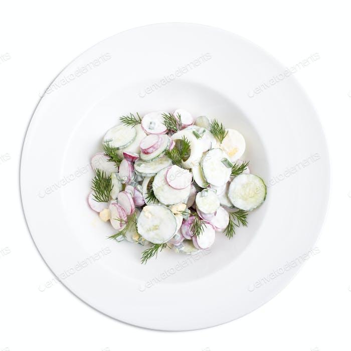 Radish salad with sour cream.