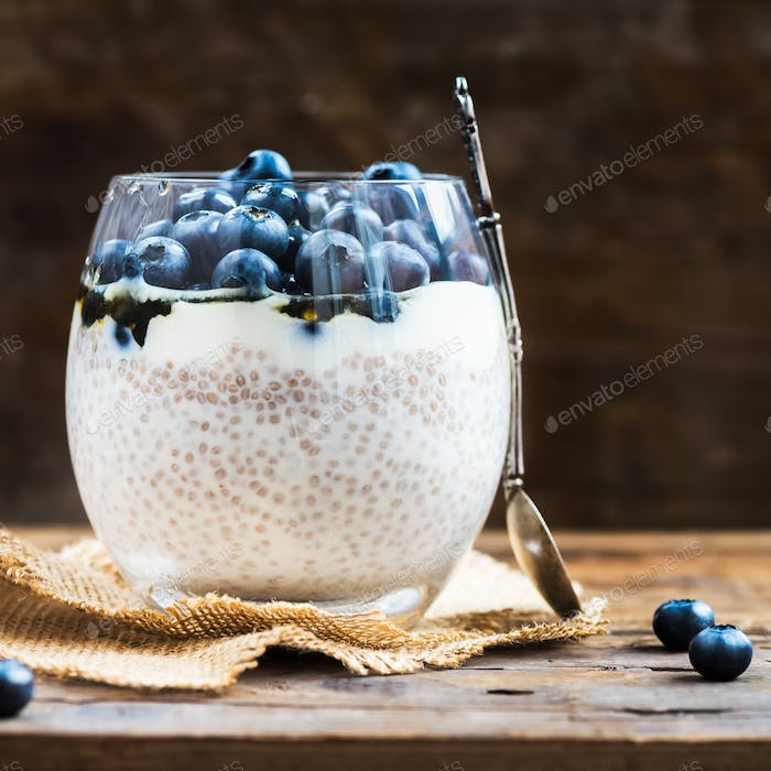 Light Healthy Dessert, Pudding, from Chia Seeds in Almond Milk