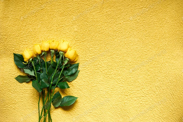 Top view bouquet of yellow roses