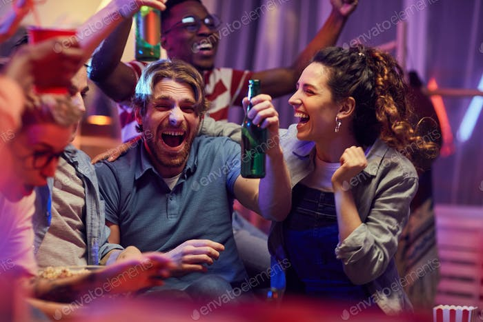 Happy people at party