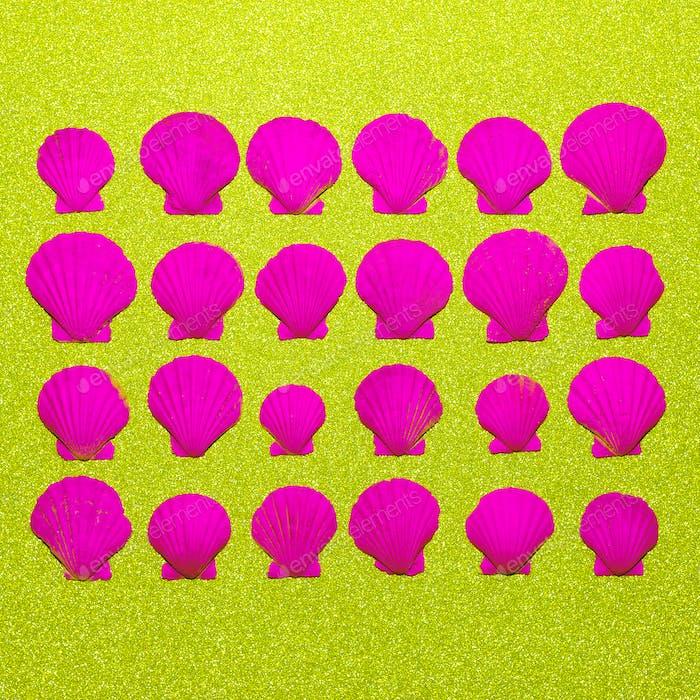 Set rosa Neonschalen Ocean Vibes Minimale Kunst