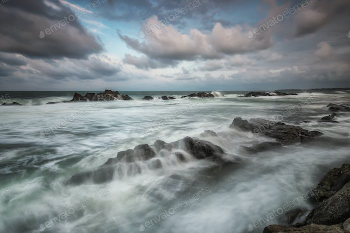 Stormy sea at the end of summer