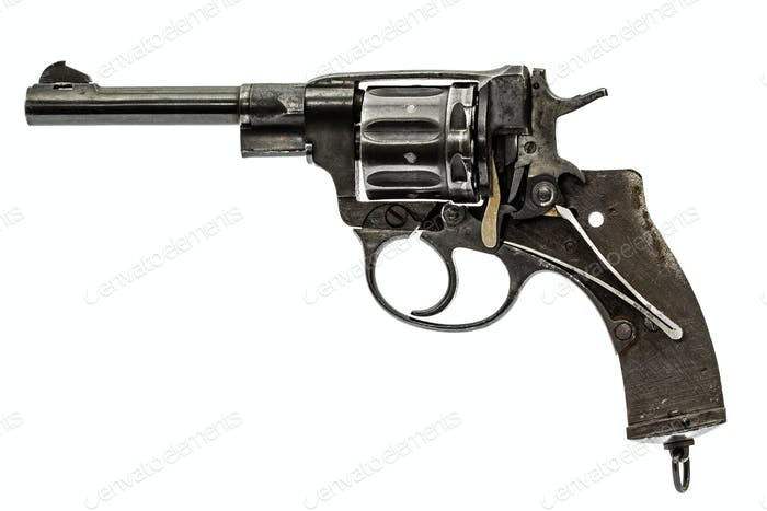 Disassembled revolver, pistol mechanism, isolated on white backg
