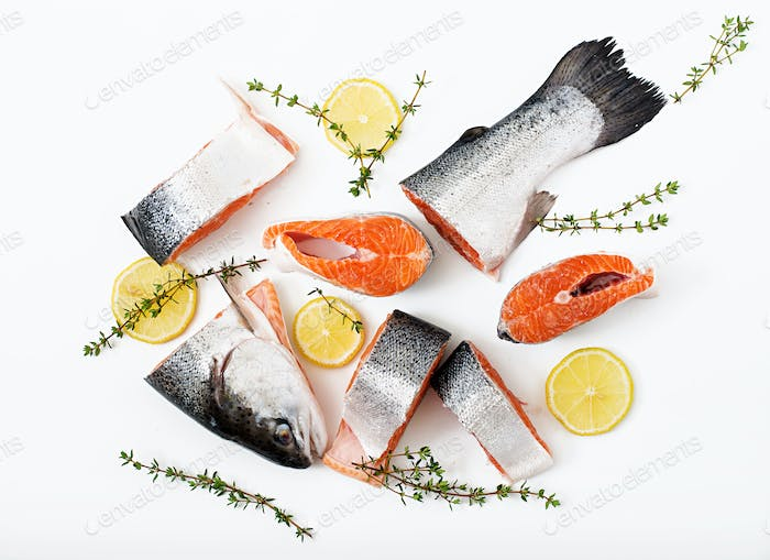 Thumbnail for Fresh raw salmon  pieces red fish  isolated on a white background. Flat lay. Top view