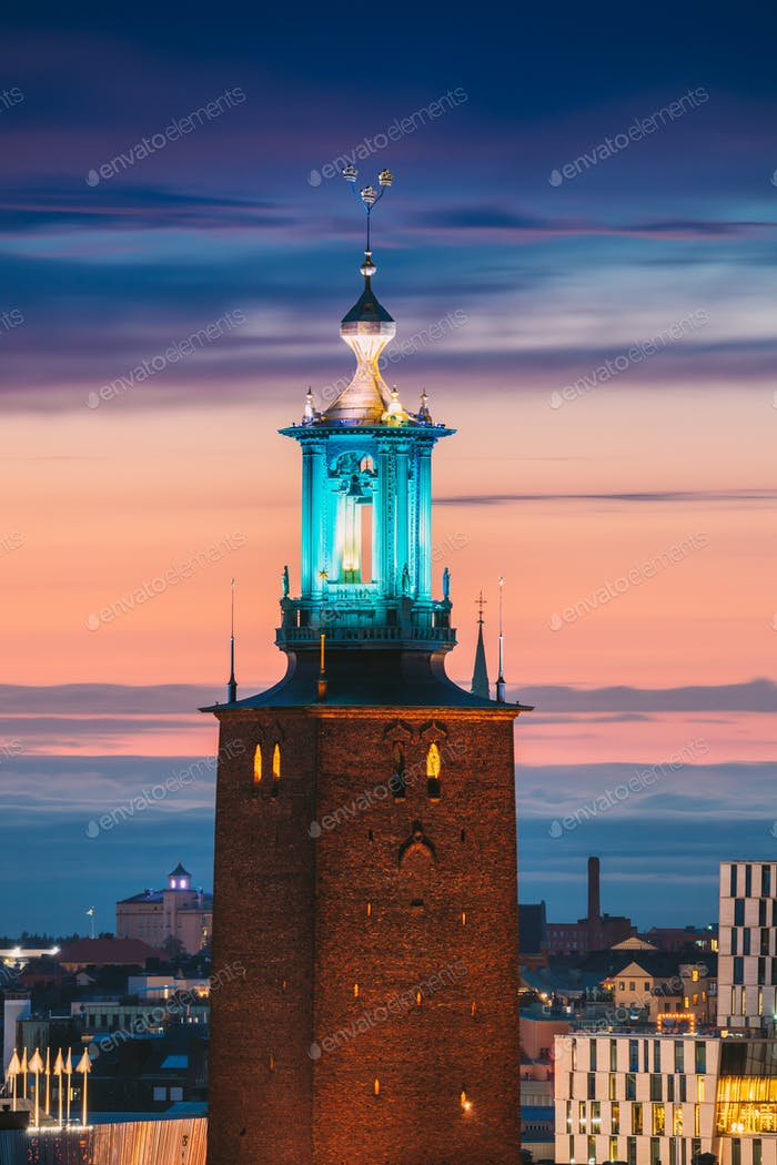 Stockholm, Sweden. Close View Of Famous Tower Of Stockholm City Hall. Popular Destination Scenic In
