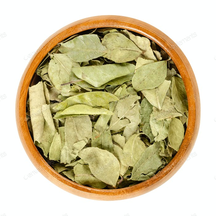 Dried whole curry leaves in wooden bowl over white