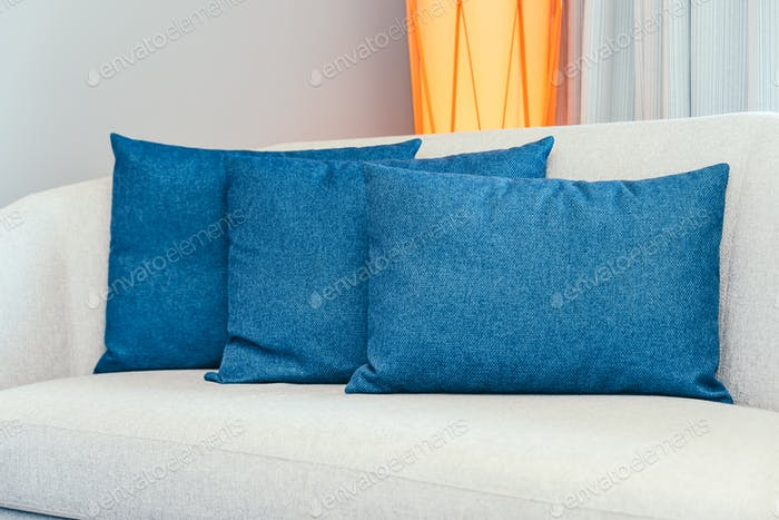 Beautiful luxury comfortable pillow on sofa furniture decoration