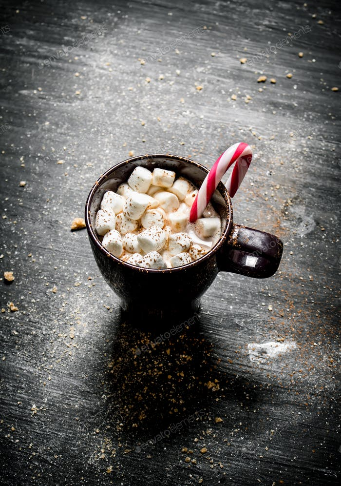 Hot chocolate with marshmallow and caramel.