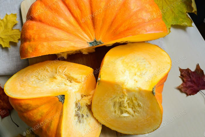 fresh harvest of orange pumpkin