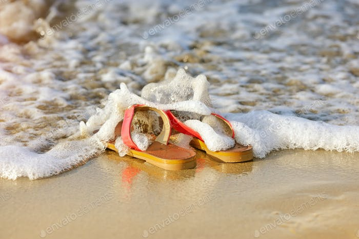 Summer vacation concept. Flip flops on a sandy ocean beach