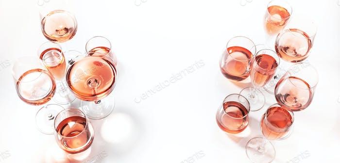 Rose wine glasses on wine tasting. Degustation different varieties of pink wine