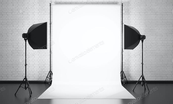 Photo studio equipment on a brick wall background. 3d render illustration.