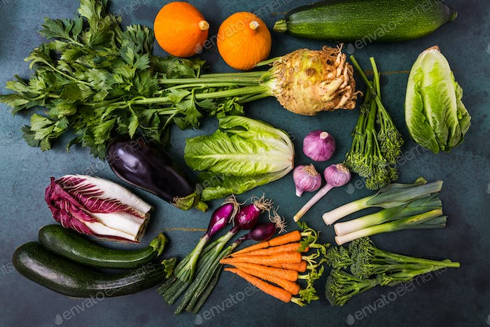 Assortment of healthy vegetables and ingredients for healthy and diet cooking.
