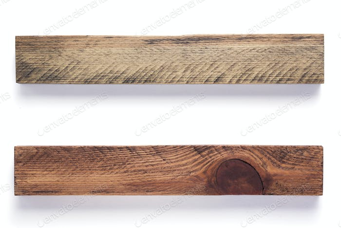 wooden bar boards isolated at white