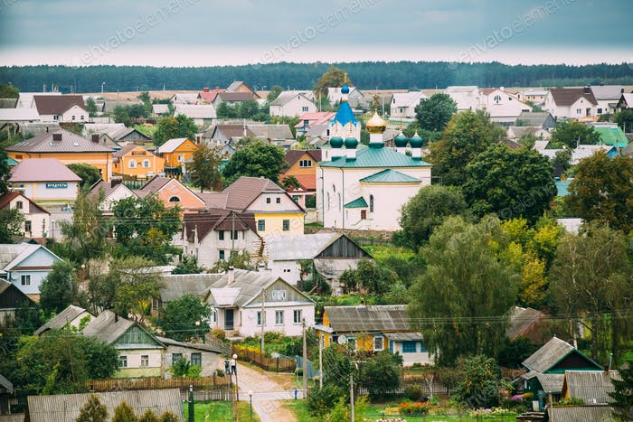 Mir, Belarus. Landscape Of Village Houses And Orthodox Church Of