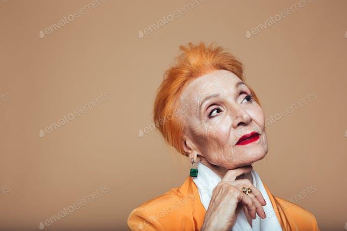 Gorgeous mature redhead fashion woman