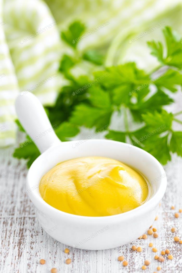 Mustard on white background