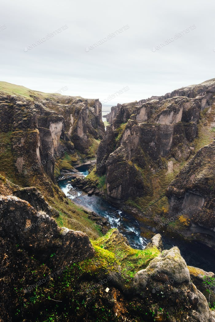 Fjadrargljufur canyon in South east Iceland