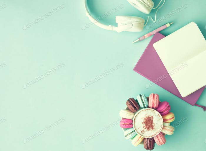Macaroons and headphones