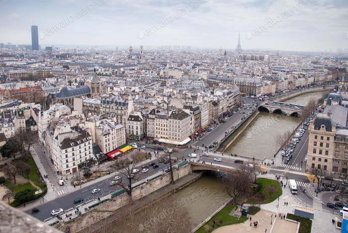 view of Eiffel tower at the river Seine