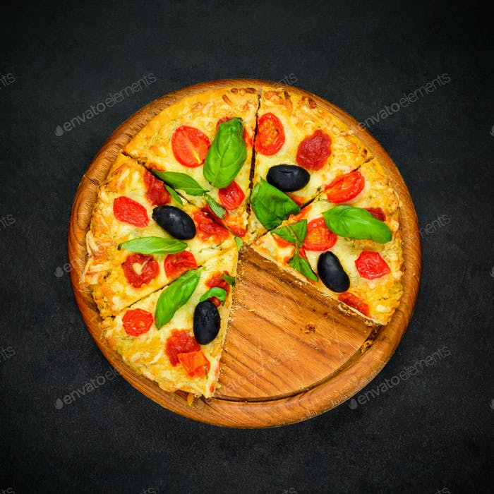 Sliced Pizza on Dark Background
