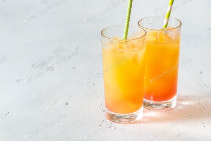 Tequila sunrise cocktails