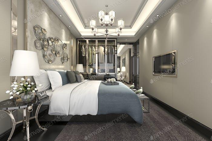 3D рендеринг роскошный современный люкс спальня в отеле с гардеробом и ходить в шкаф