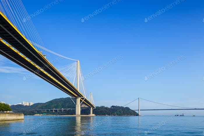 Ting Kau and Tsing Ma suspension bridge in Hong Kong