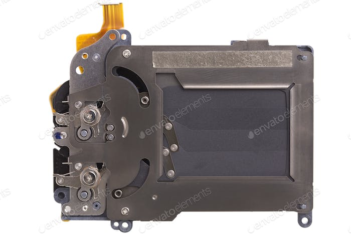 Shutter mechanism of a photographic camera. Close-up. Isolated on a white background.