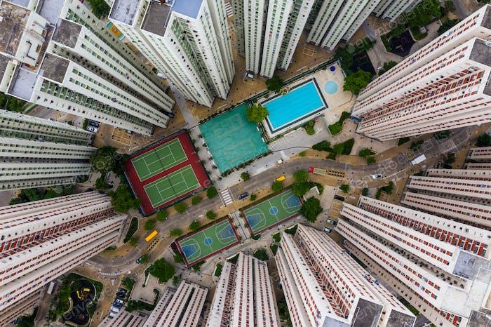 Kowloon Bay, Hong Kong 16 de mayo de 2019: Vista superior del distrito residencial de Hong Kong