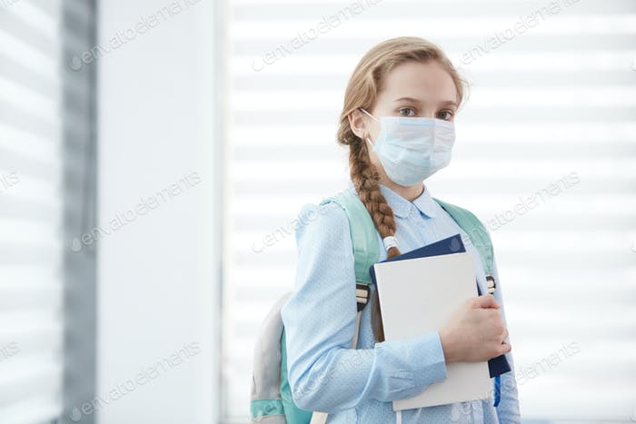 Girl Wearing Mask in School