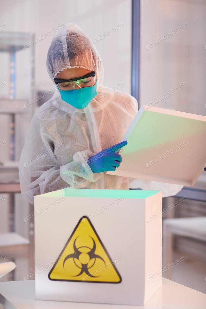 Worker in Bio Hazard Laboratory