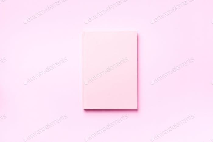 Draufsicht des offenen rosa Notizbuchs auf pastellfarbenem Hintergrund. Kopierraum. Frau business, studie