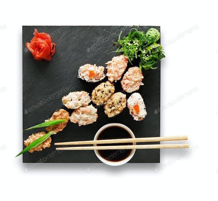 Set of sushi gunkans isolated at white.