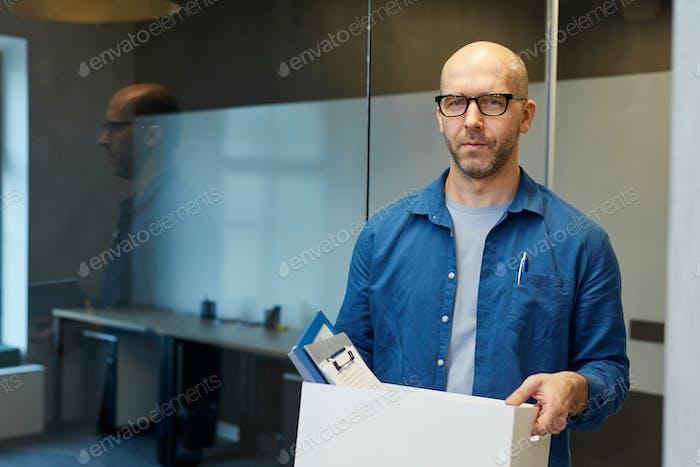 Bald Adult Man Leaving Job