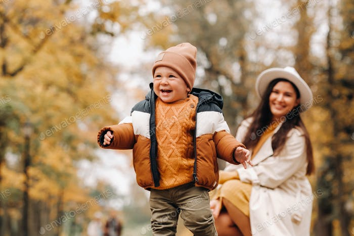mother and son walk in the autumn Park. The family walks through the nature Park in the Golden